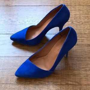 Madewell size 9 blue suede heels UEC